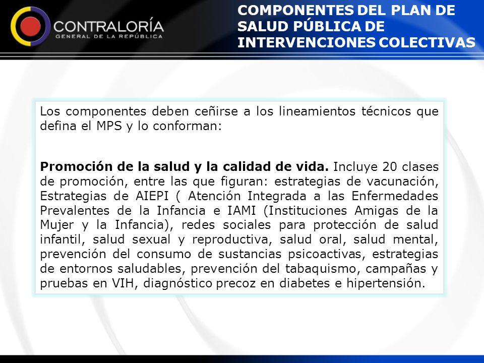 COMPONENTES DEL PLAN DE SALUD PÚBLICA DE INTERVENCIONES COLECTIVAS