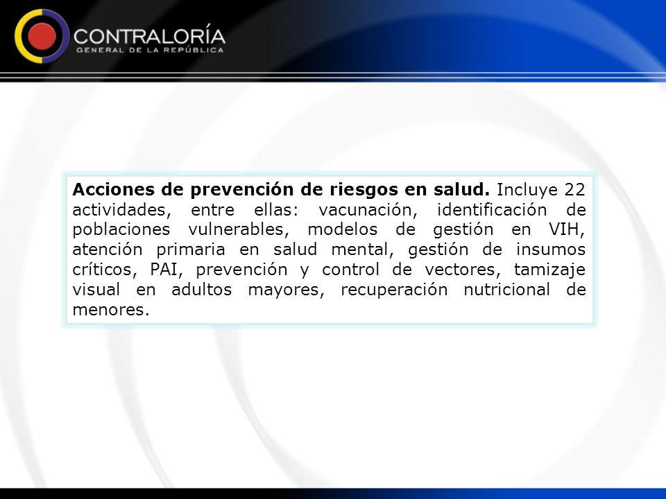 Acciones de prevención de riesgos en salud