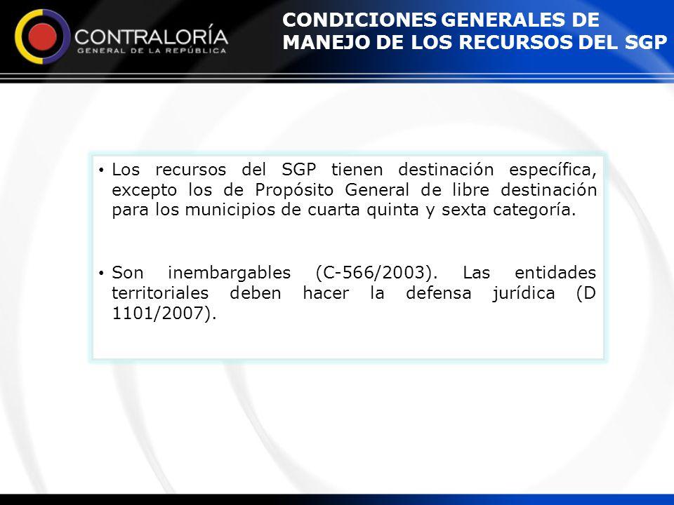 CONDICIONES GENERALES DE MANEJO DE LOS RECURSOS DEL SGP