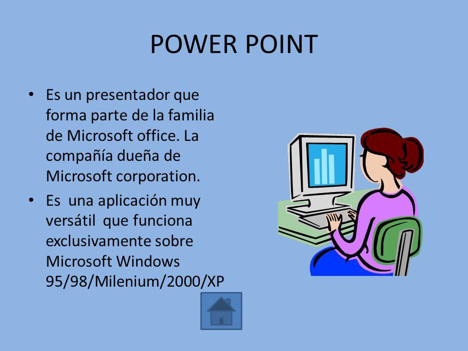 POWER POINT Es un presentador que forma parte de la familia de Microsoft office. La compañía dueña de Microsoft corporation.