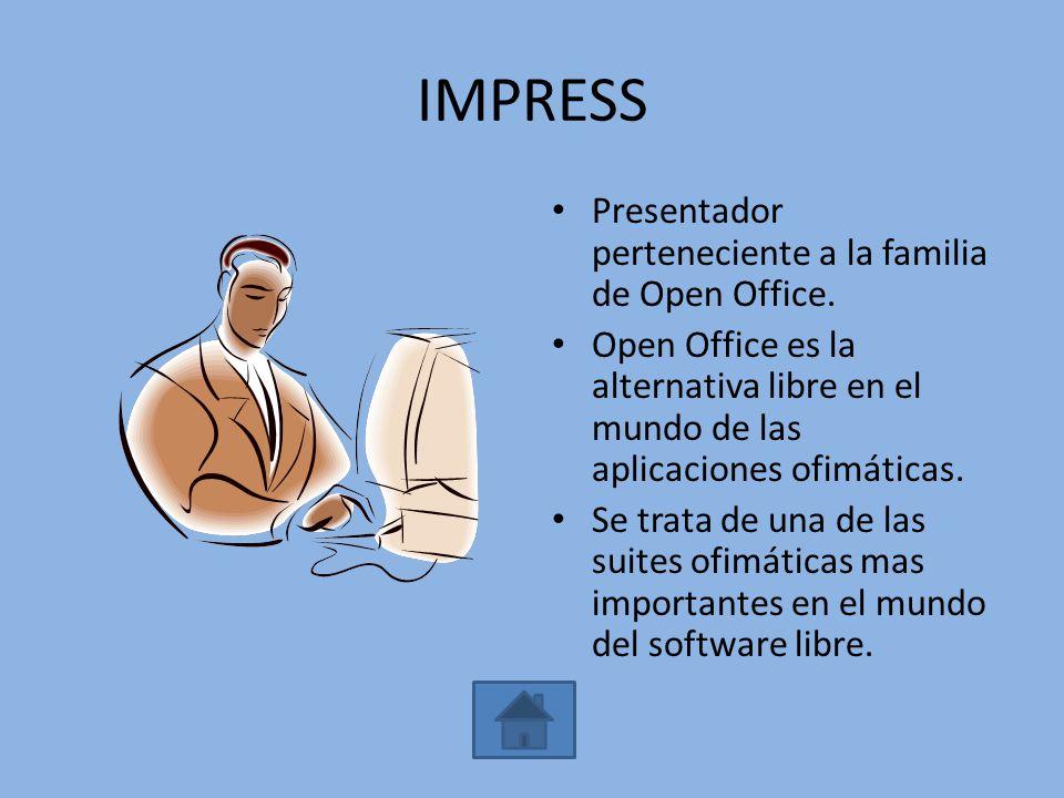 IMPRESS Presentador perteneciente a la familia de Open Office.