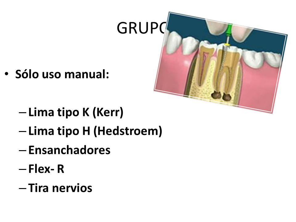 GRUPO I Sólo uso manual: Lima tipo K (Kerr) Lima tipo H (Hedstroem)