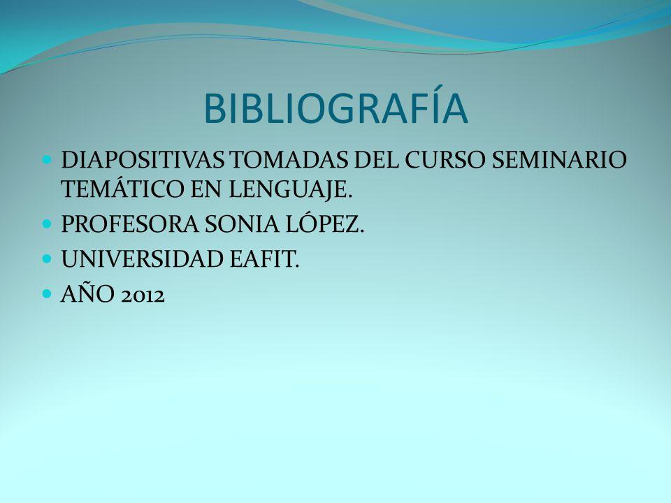 BIBLIOGRAFÍA DIAPOSITIVAS TOMADAS DEL CURSO SEMINARIO TEMÁTICO EN LENGUAJE. PROFESORA SONIA LÓPEZ.