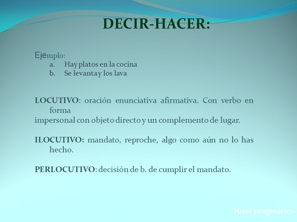 DECIR-HACER: Ejemplo: