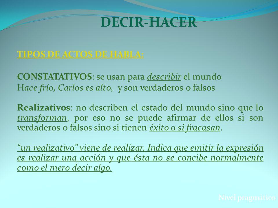 DECIR-HACER TIPOS DE ACTOS DE HABLA: