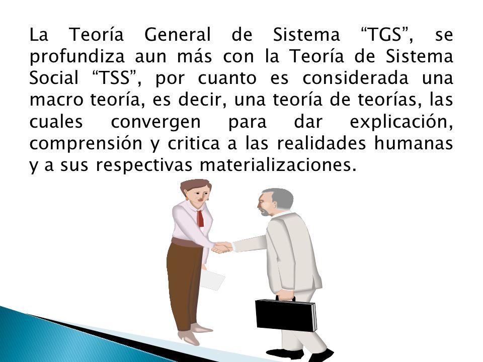 La Teoría General de Sistema TGS , se profundiza aun más con la Teoría de Sistema Social TSS , por cuanto es considerada una macro teoría, es decir, una teoría de teorías, las cuales convergen para dar explicación, comprensión y critica a las realidades humanas y a sus respectivas materializaciones.