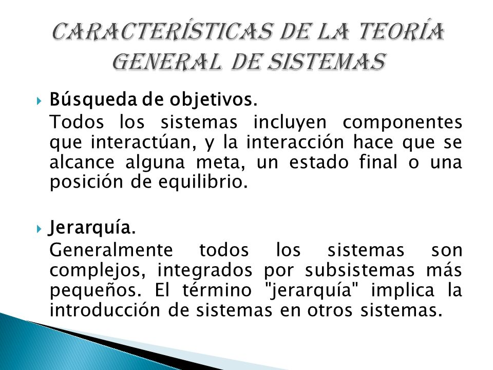 CARACTERÍSTICAS DE LA TEORÍA GENERAL DE SISTEMAS