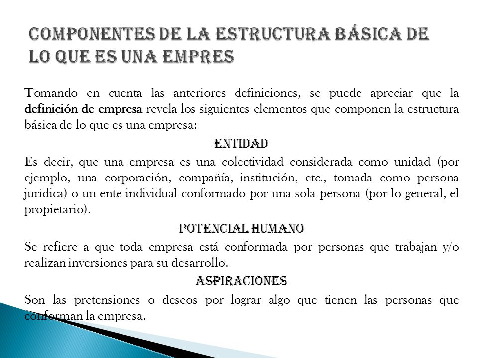 Componentes de la estructura básica de lo que es una empres