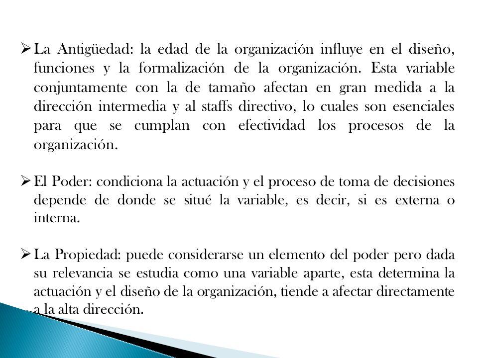 La Antigüedad: la edad de la organización influye en el diseño, funciones y la formalización de la organización. Esta variable conjuntamente con la de tamaño afectan en gran medida a la dirección intermedia y al staffs directivo, lo cuales son esenciales para que se cumplan con efectividad los procesos de la organización.