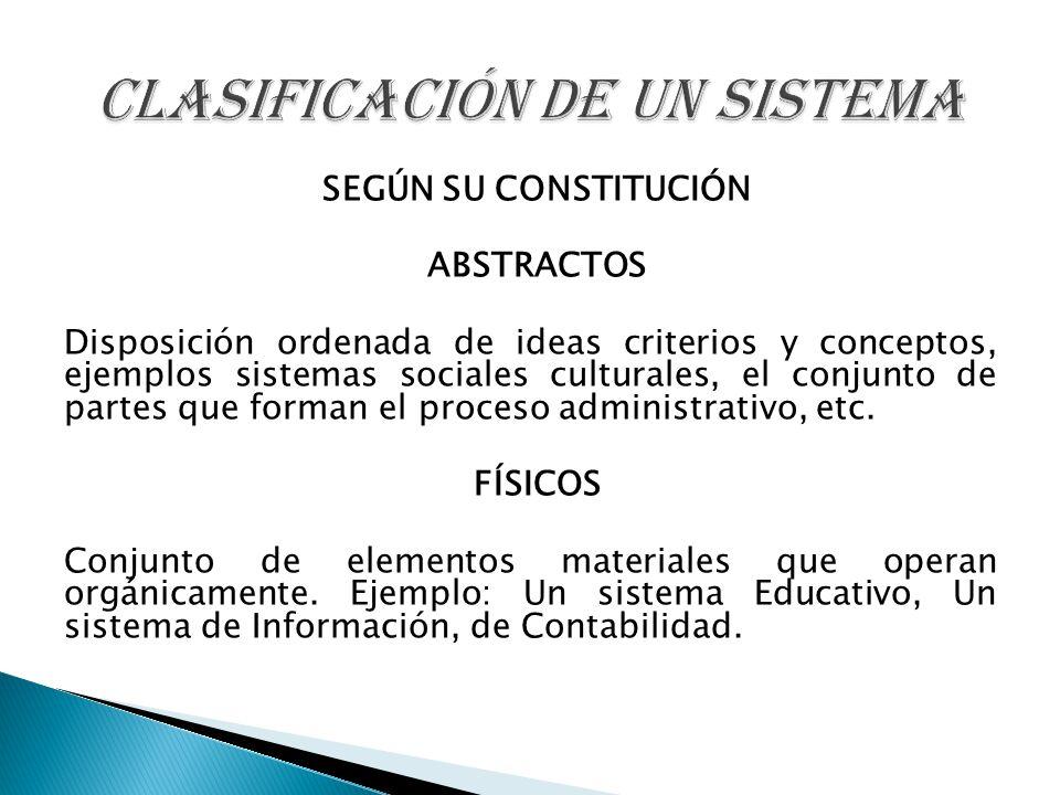 CLASIFICACIÓN DE UN SISTEMA