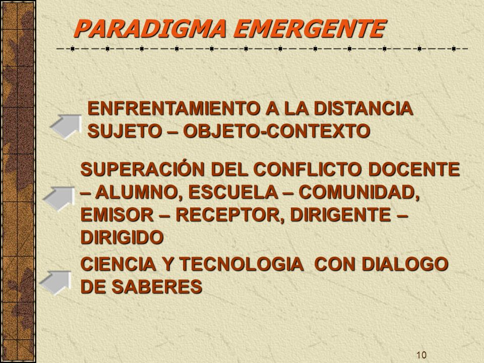 PARADIGMA EMERGENTE ENFRENTAMIENTO A LA DISTANCIA SUJETO – OBJETO-CONTEXTO.