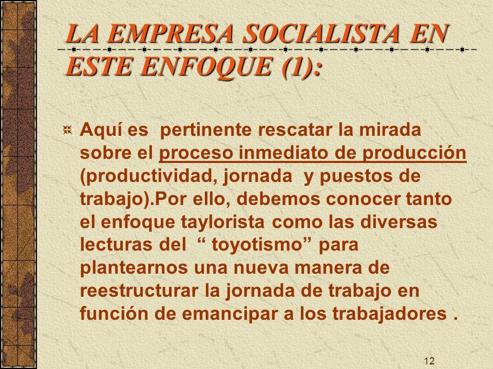 LA EMPRESA SOCIALISTA EN ESTE ENFOQUE (1):