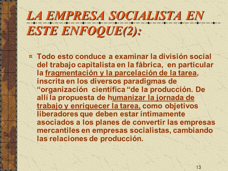 LA EMPRESA SOCIALISTA EN ESTE ENFOQUE(2):