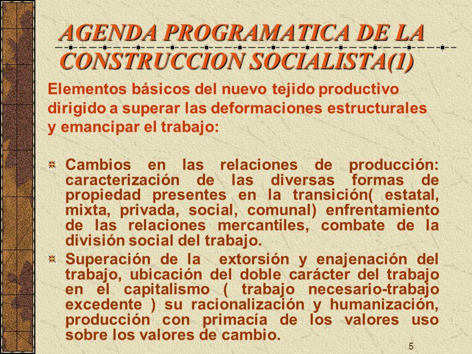 AGENDA PROGRAMATICA DE LA CONSTRUCCION SOCIALISTA(1)