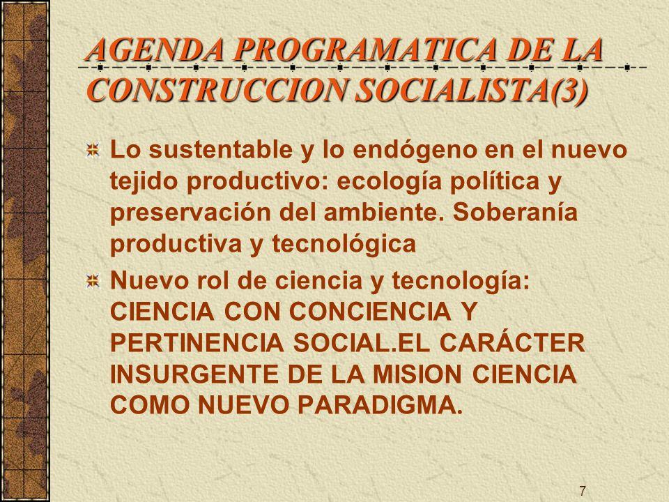 AGENDA PROGRAMATICA DE LA CONSTRUCCION SOCIALISTA(3)