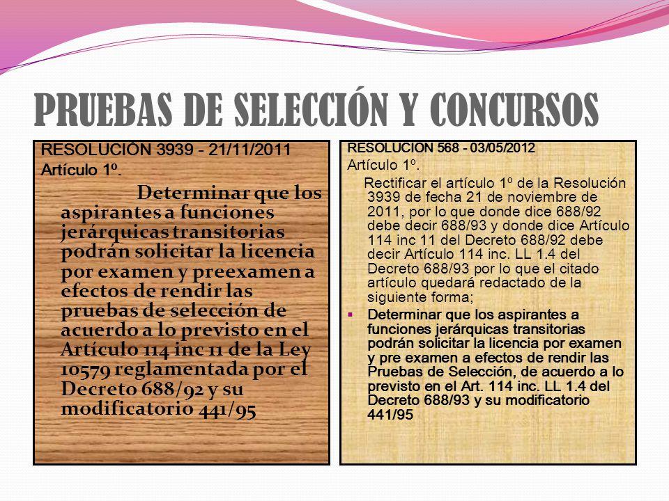 PRUEBAS DE SELECCIÓN Y CONCURSOS