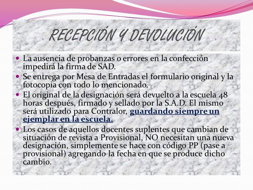 RECEPCIÓN Y DEVOLUCIÓN
