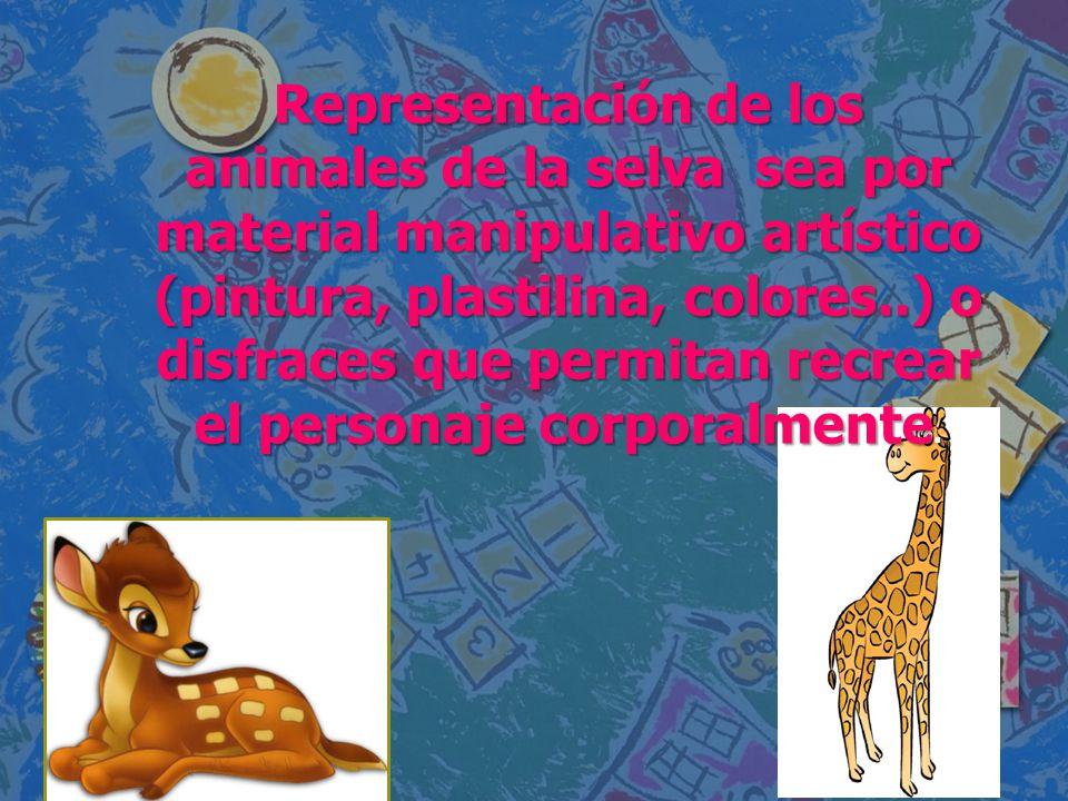 Representación de los animales de la selva sea por material manipulativo artístico (pintura, plastilina, colores..) o disfraces que permitan recrear el personaje corporalmente.