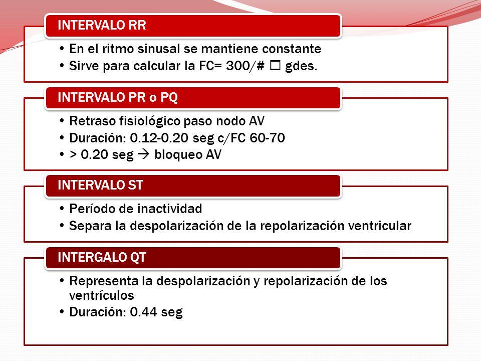 INTERVALO RR En el ritmo sinusal se mantiene constante. Sirve para calcular la FC= 300/#  gdes. INTERVALO PR o PQ.