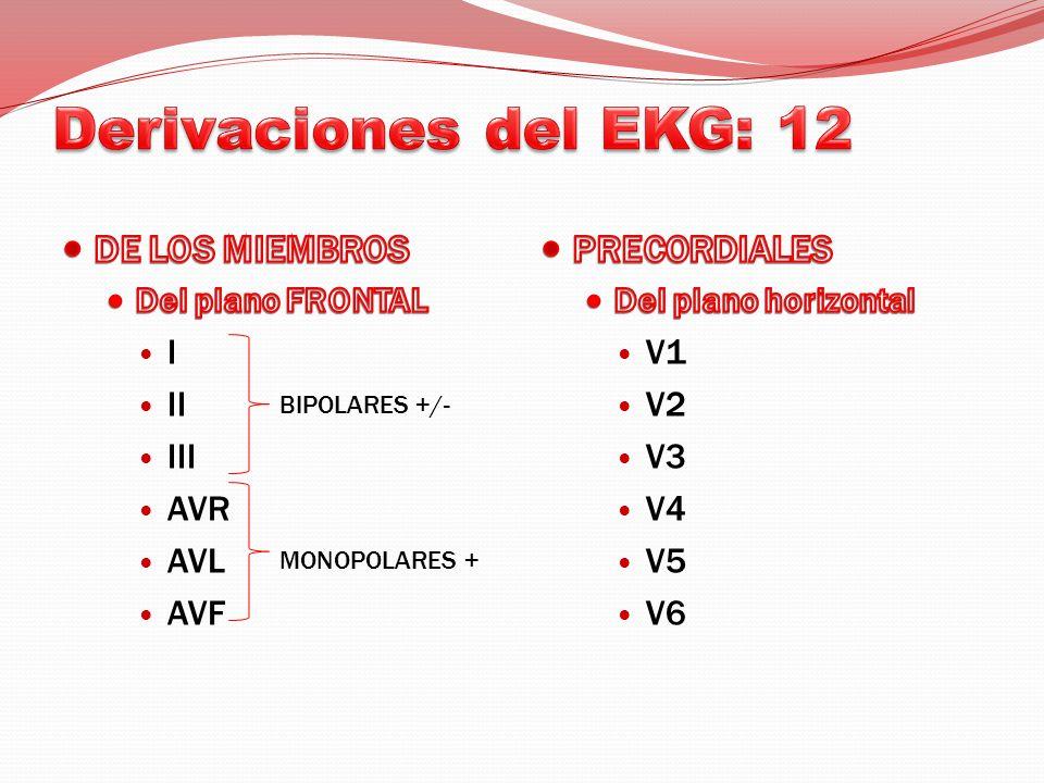 Derivaciones del EKG: 12 DE LOS MIEMBROS PRECORDIALES I II III AVR AVL