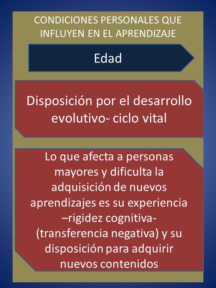 Disposición por el desarrollo evolutivo- ciclo vital