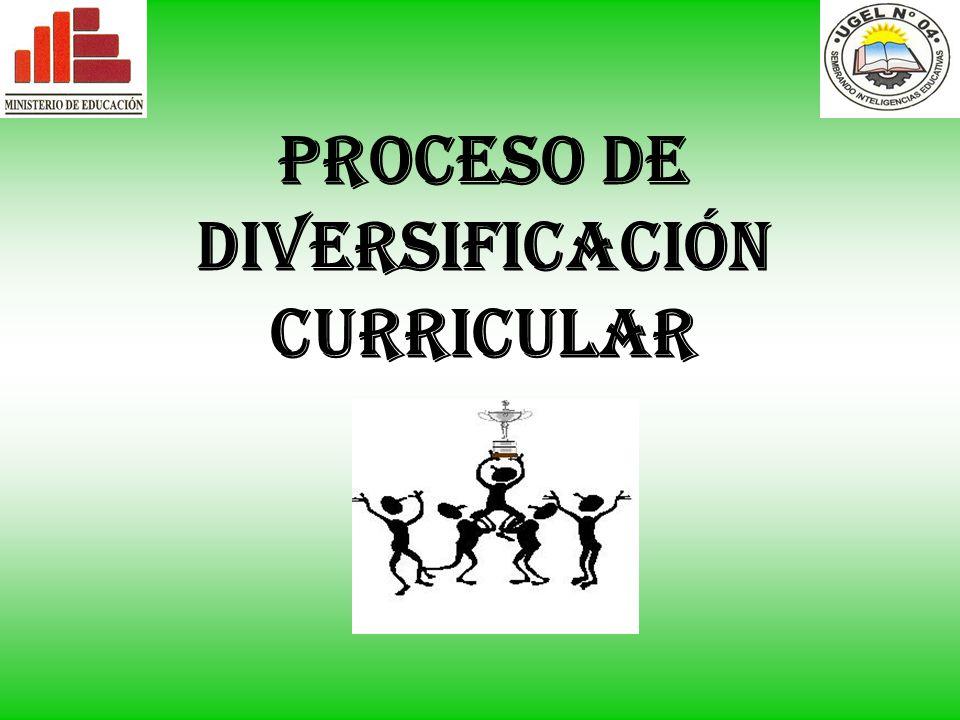 PROCESO DE DIVERSIFICACIÓN CURRICULAR