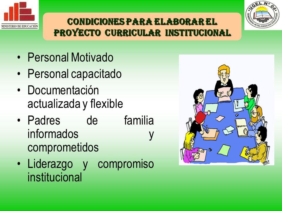 Condiciones para elaborar el proyecto curricular institucional