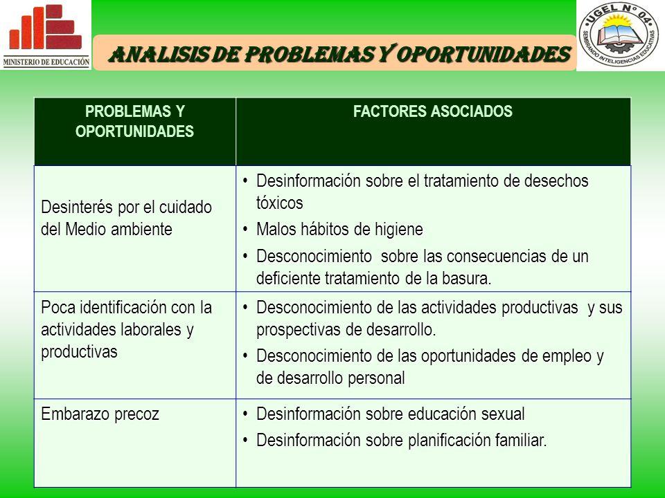 ANALISIS DE PROBLEMAS Y OPORTUNIDADES PROBLEMAS Y OPORTUNIDADES
