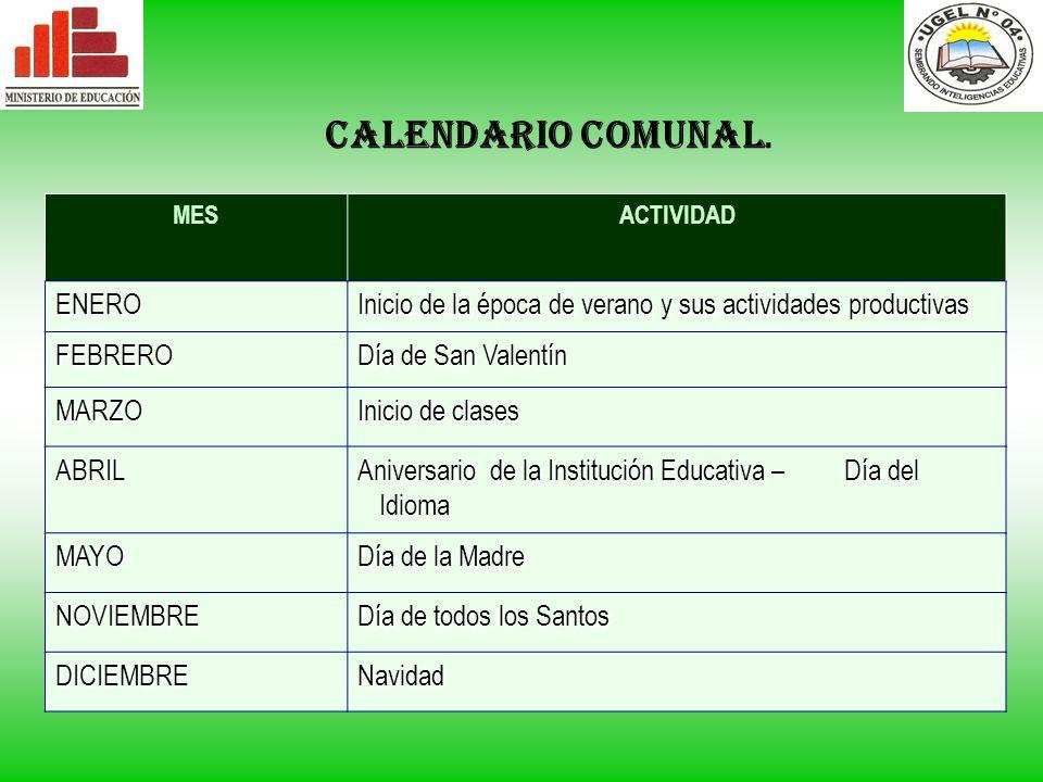 CALENDARIO COMUNAL. ENERO