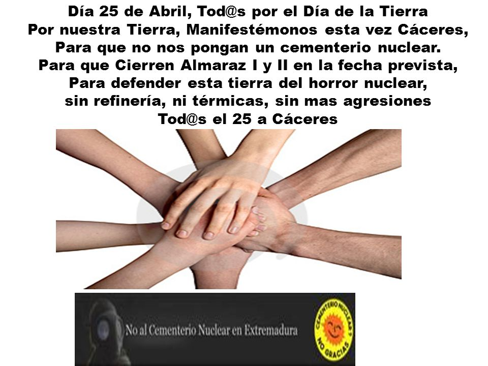 Día 25 de Abril, Tod@s por el Día de la Tierra
