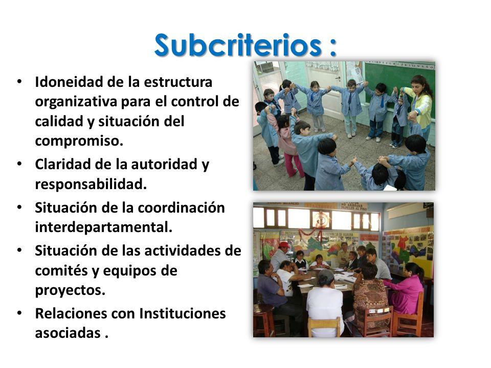Subcriterios : Idoneidad de la estructura organizativa para el control de calidad y situación del compromiso.