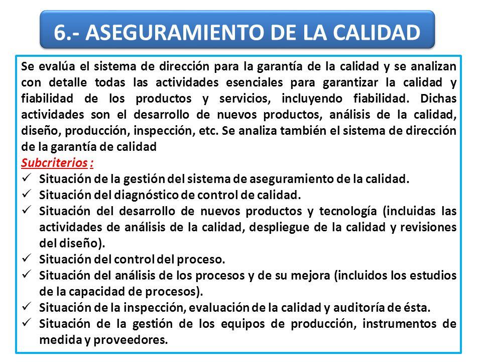 6.- ASEGURAMIENTO DE LA CALIDAD