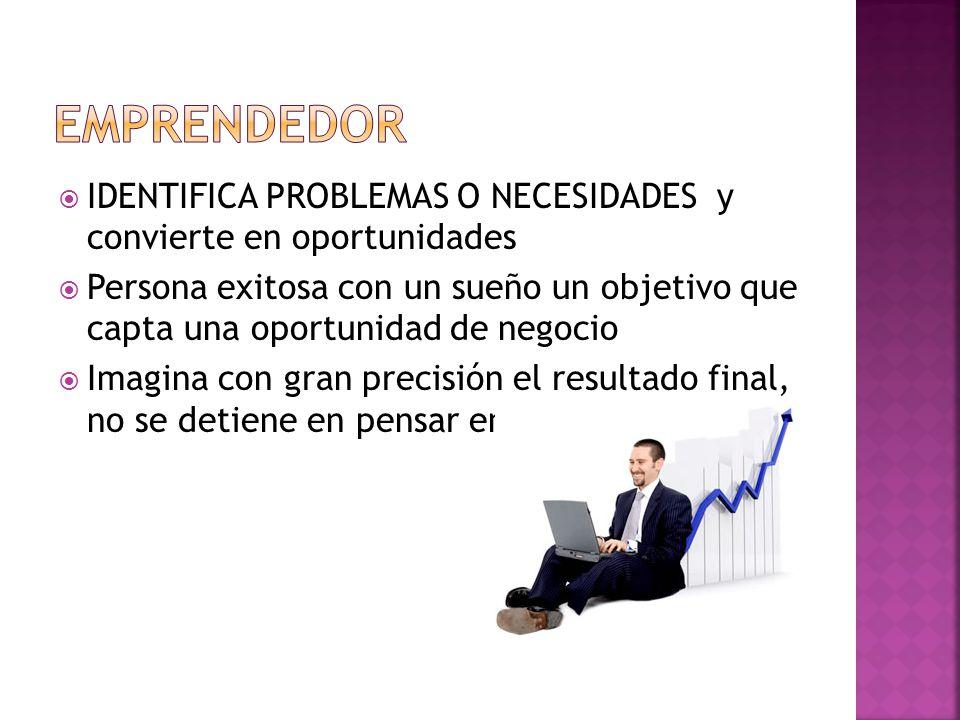 EMPRENDEDOR IDENTIFICA PROBLEMAS O NECESIDADES y convierte en oportunidades.
