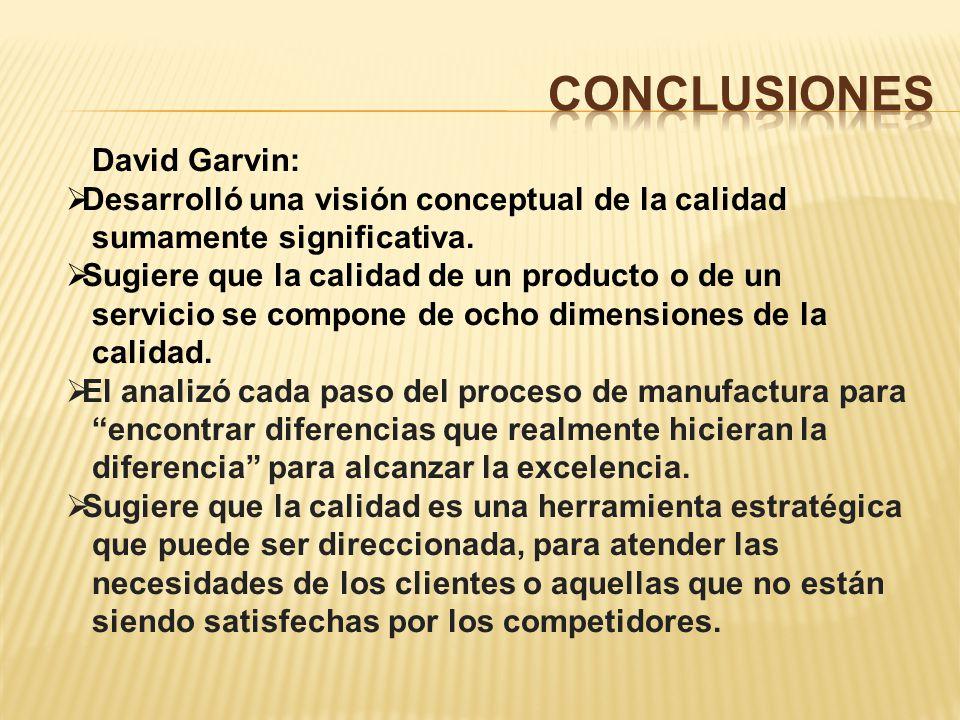 CoNCLUSIONES David Garvin: