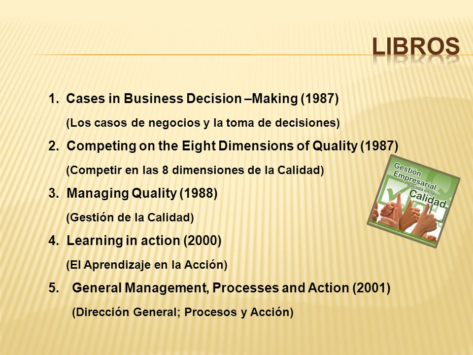 LIBROS Cases in Business Decision –Making (1987)
