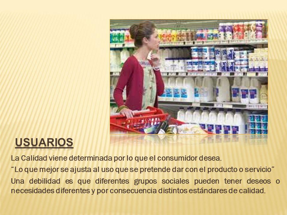 usuarios La Calidad viene determinada por lo que el consumidor desea.