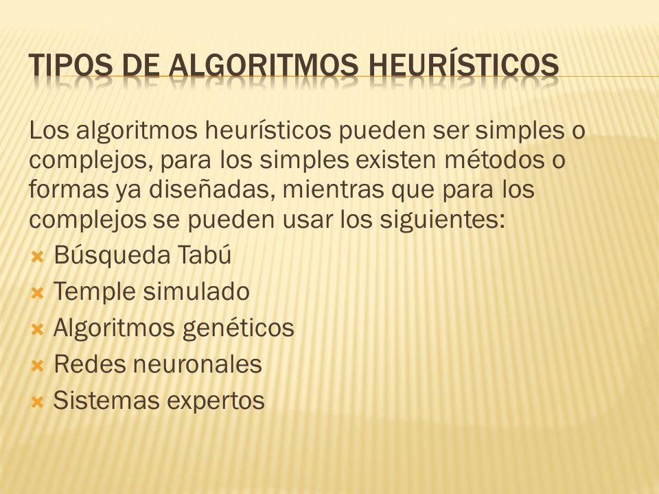 Tipos de algoritmos heurísticos