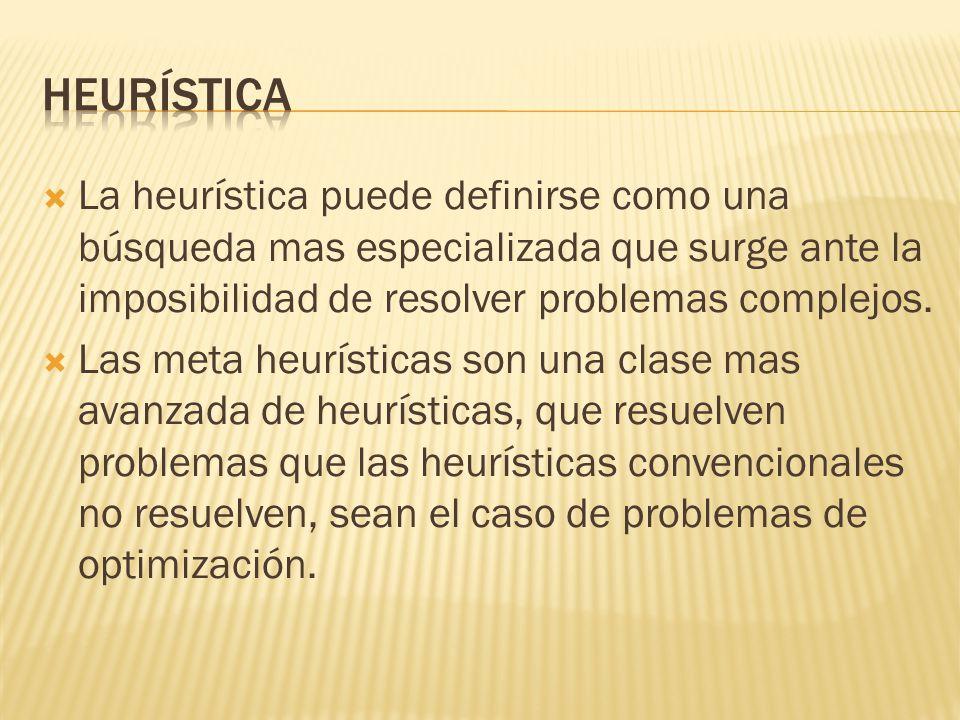 Heurística La heurística puede definirse como una búsqueda mas especializada que surge ante la imposibilidad de resolver problemas complejos.