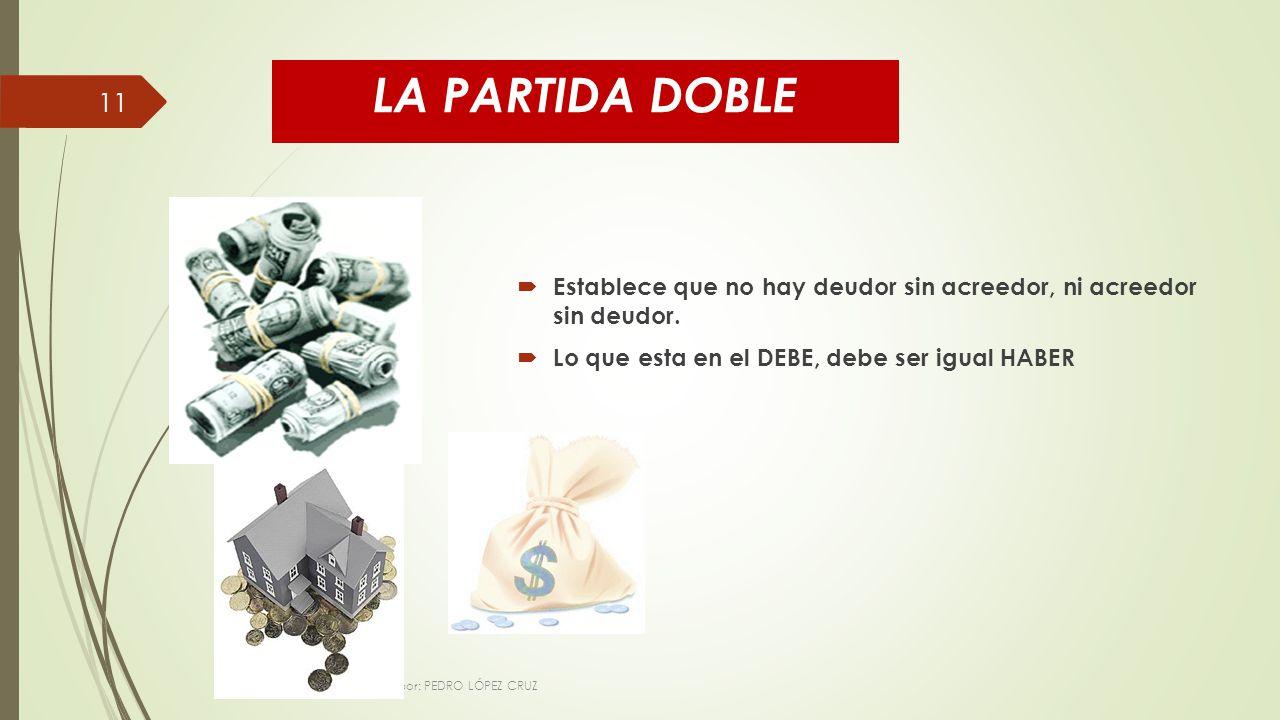 LA PARTIDA DOBLE Establece que no hay deudor sin acreedor, ni acreedor sin deudor. Lo que esta en el DEBE, debe ser igual HABER.