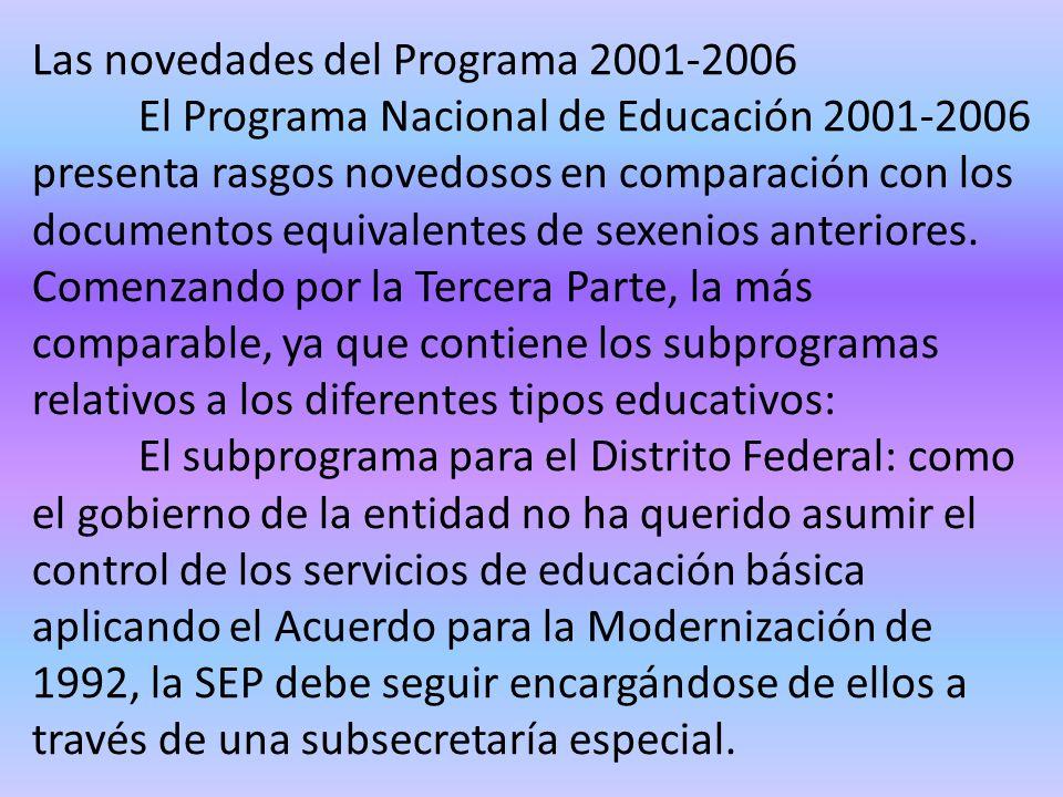 Las novedades del Programa 2001-2006