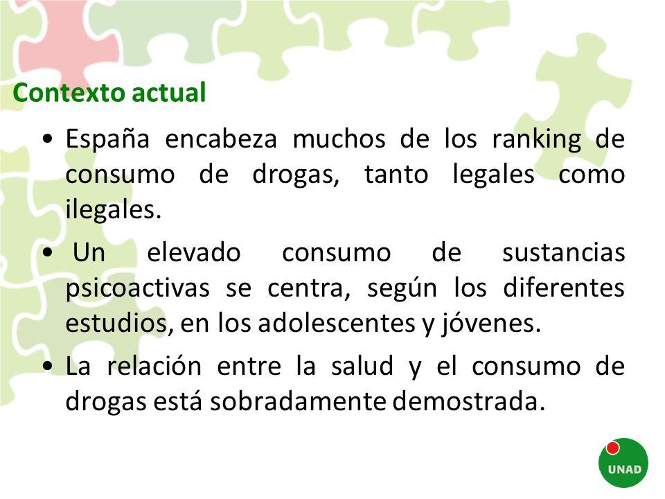 Contexto actual España encabeza muchos de los ranking de consumo de drogas, tanto legales como ilegales.