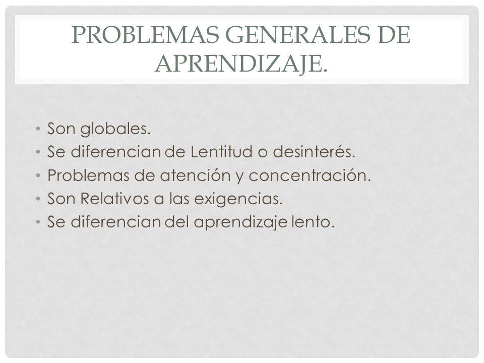 Problemas Generales de Aprendizaje.