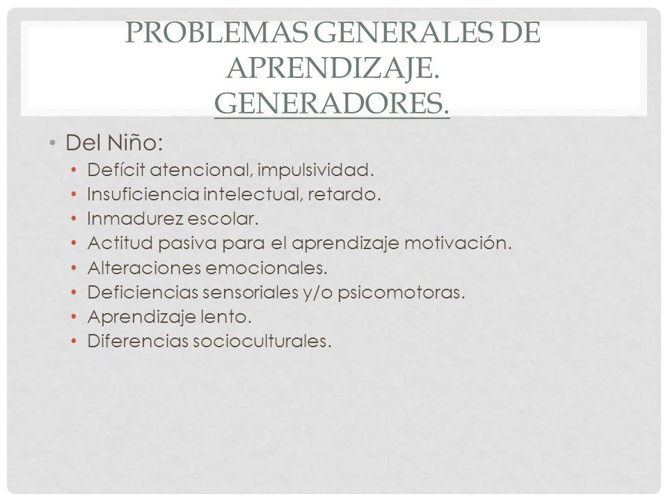 Problemas generales de aprendizaje. Generadores.