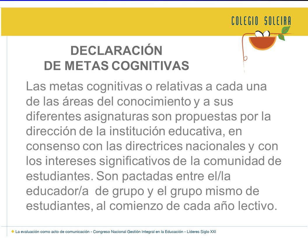 DECLARACIÓN DE METAS COGNITIVAS
