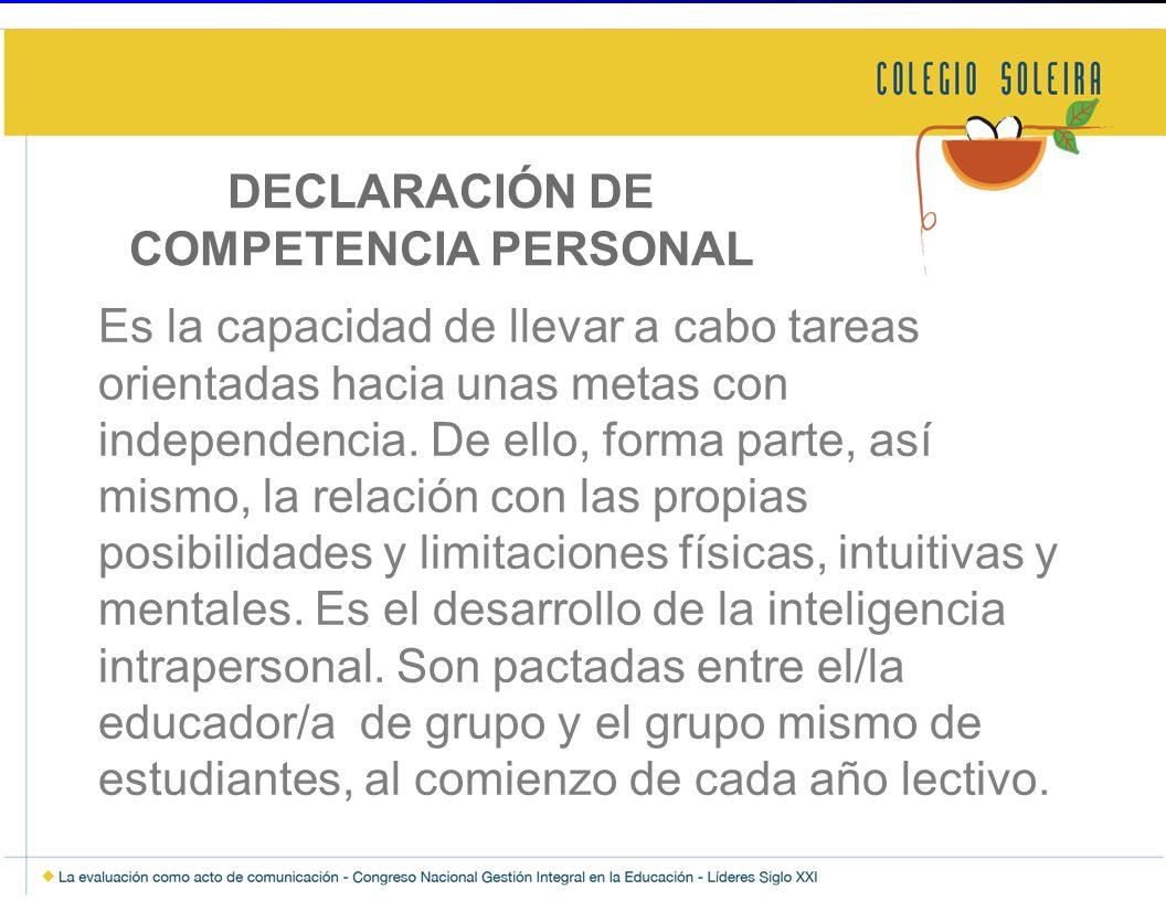 DECLARACIÓN DE COMPETENCIA PERSONAL