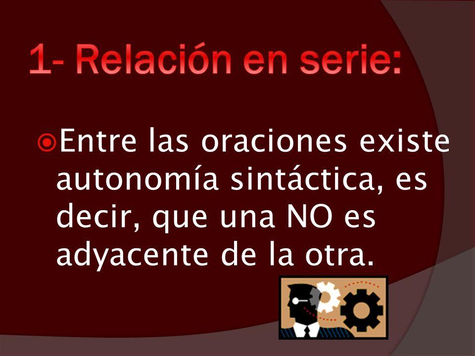 1- Relación en serie: Entre las oraciones existe autonomía sintáctica, es decir, que una NO es adyacente de la otra.