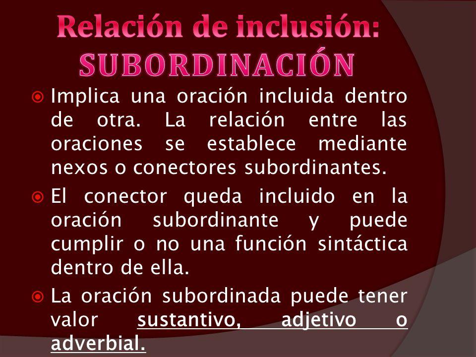 Relación de inclusión: SUBORDINACIÓN