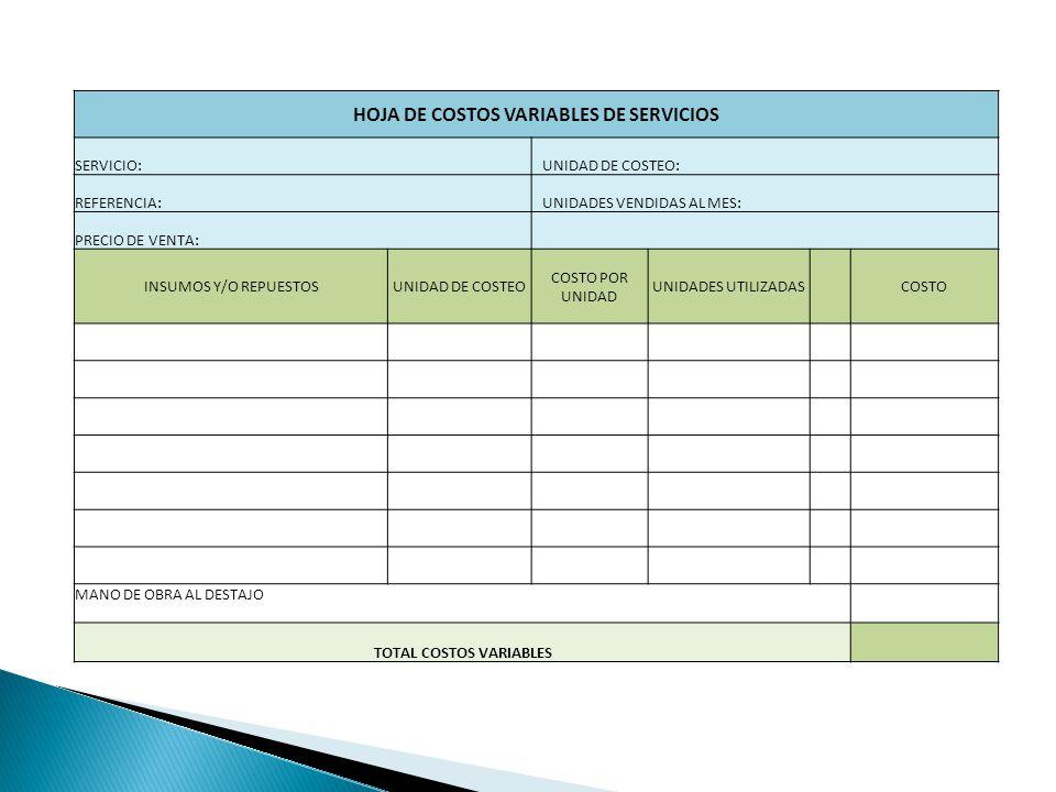 HOJA DE COSTOS VARIABLES DE SERVICIOS TOTAL COSTOS VARIABLES