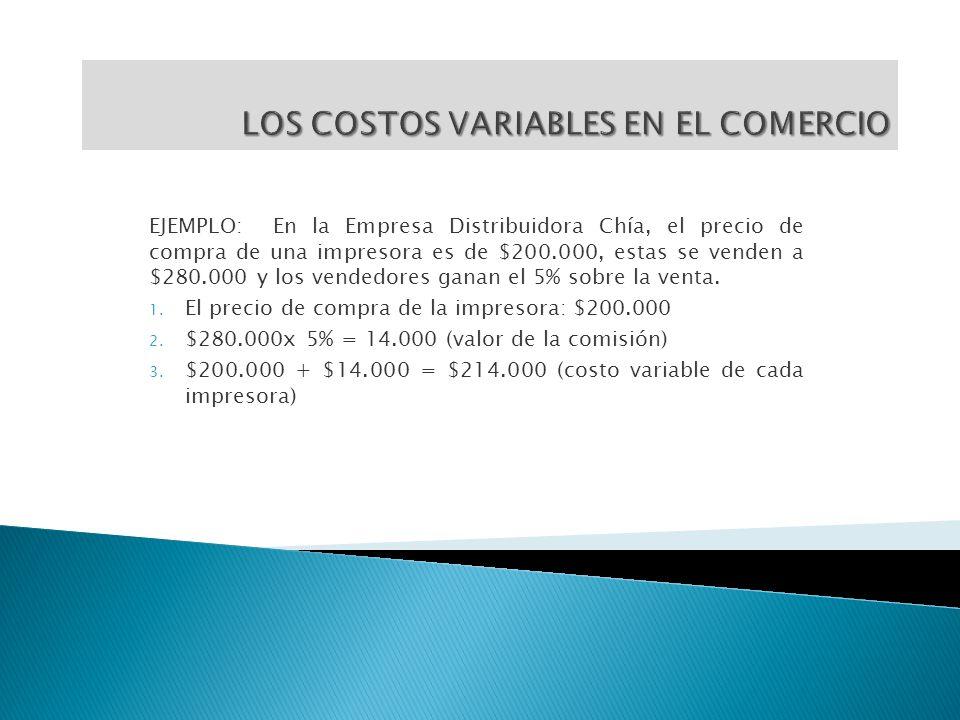 LOS COSTOS VARIABLES EN EL COMERCIO