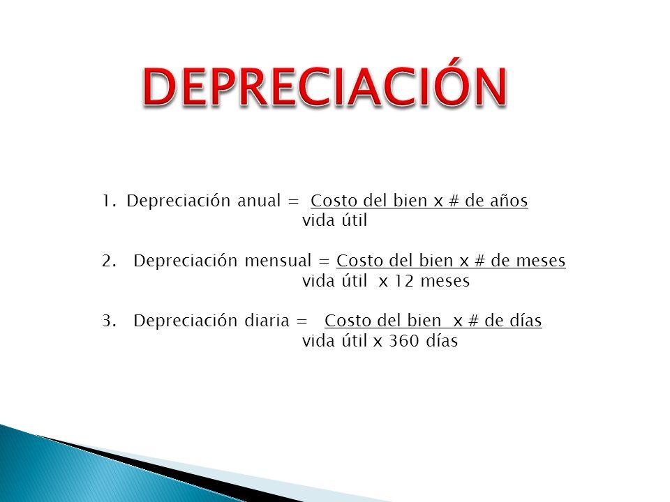 DEPRECIACIÓN Depreciación anual = Costo del bien x # de años vida útil